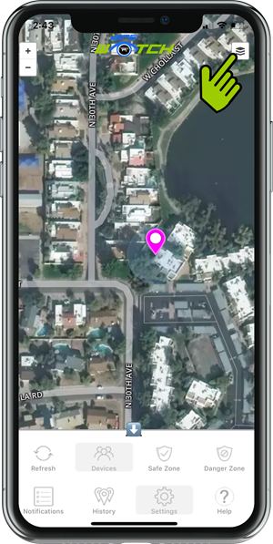 iGPS mobile app map satellite view