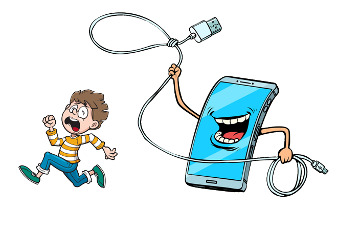mobile phone chasing child with a rope