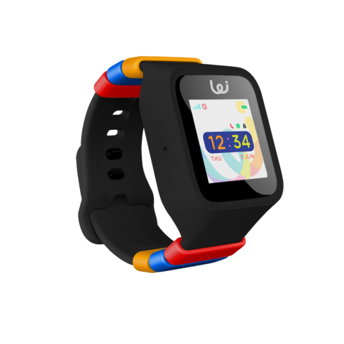 Black GPS Wristwatch for tracking children with a LED touchscreen