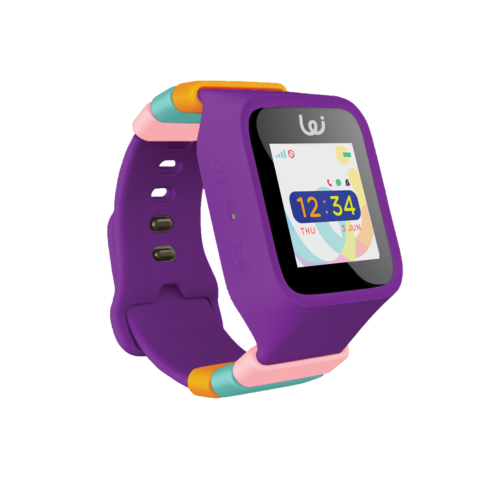 Purple GPS wrist watch for children