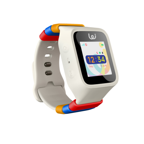 White wizard GPS watch with colorful band holders and a LED touchscreen