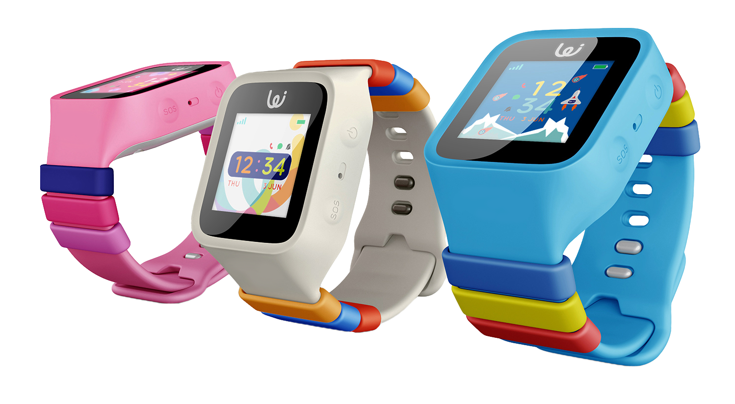 GPS Watch Phone Colors Rose Pink-Artic White-Sky Blue